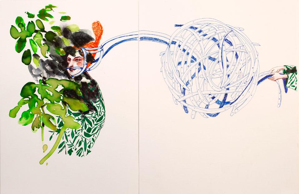 """<p><span style=""""color: #808080; font-size: 8pt;"""">Las riendas. </span></p> <p><span style=""""color: #808080; font-size: 8pt;"""">Acuarela y tinta sobre papel. 45,5 cm x 29,5 cm.</span></p>"""