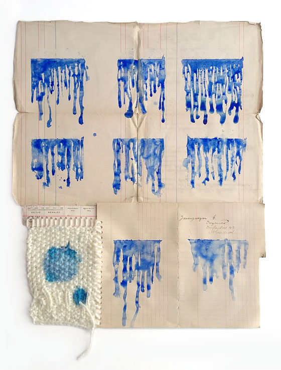 "<p><span style=""color: #808080; font-size: 8pt;"">Playa de pequeña. Acuarela,tinta y lana sobre papel. 55x42</span></p>"