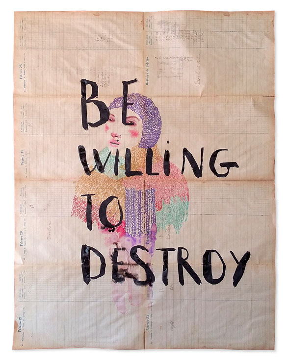 "<p><span style=""color: #808080; font-size: 8pt;"">Be willing to destroy. Acuarela y tinta sobre papel. 55x42</span></p>"